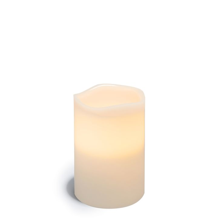 """Signature White 4x6"""" Melted-Edge Wax Pillar Candle"""