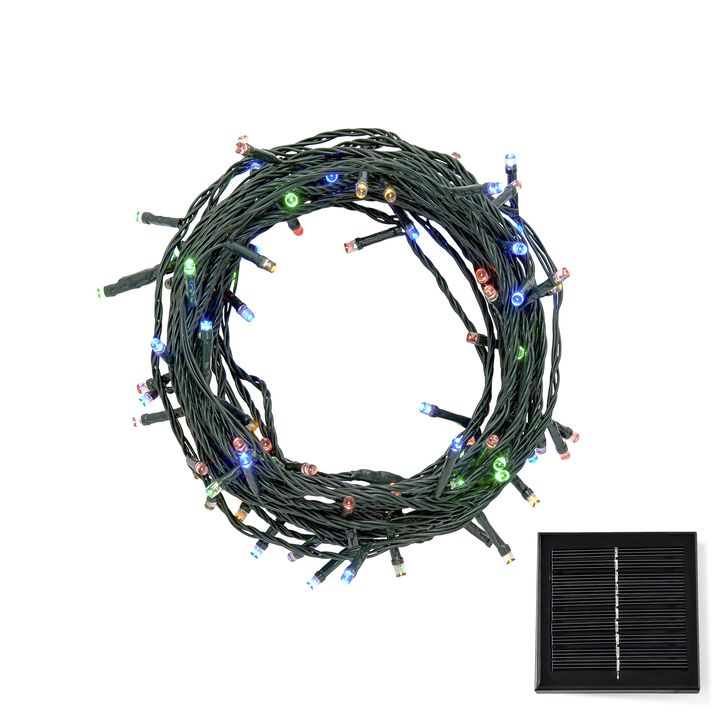 30 ft. Multicolor LED Christmas Lights, Solar Panel