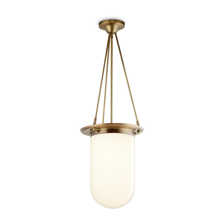 Regent Pendant with White Pill Shade, Bronze