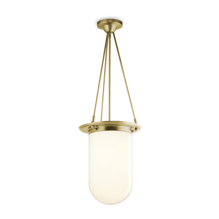 Regent Pendant with White Pill Shade, Aged Brass