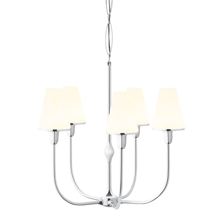 Chandeliers affordable modern statement lighting lights arden 5 light chandelier with tapered opal shade polished nickel aloadofball Image collections