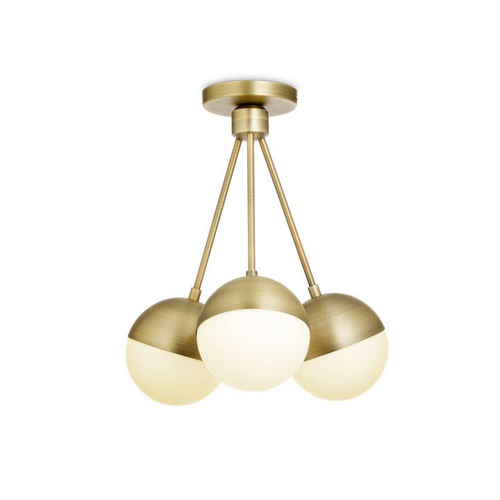 Led ceiling lights home light fixtures lights powell led 3 light semi flush with white globes aged brass aloadofball Gallery