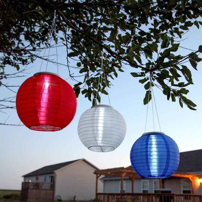 "Patriot 10"" Solar Lanterns, Set of 3"