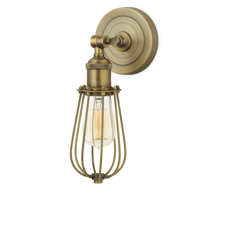 Clifton Wall Sconce with Raindrop Cage, Aged Brass