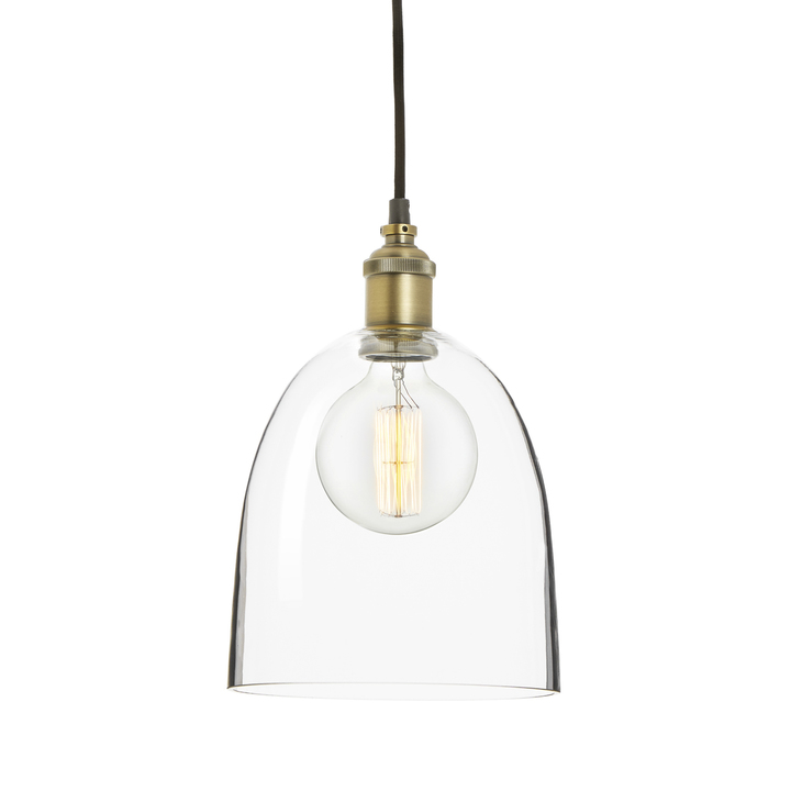 Alton Pendant with Chic Dome Glass, Aged Brass