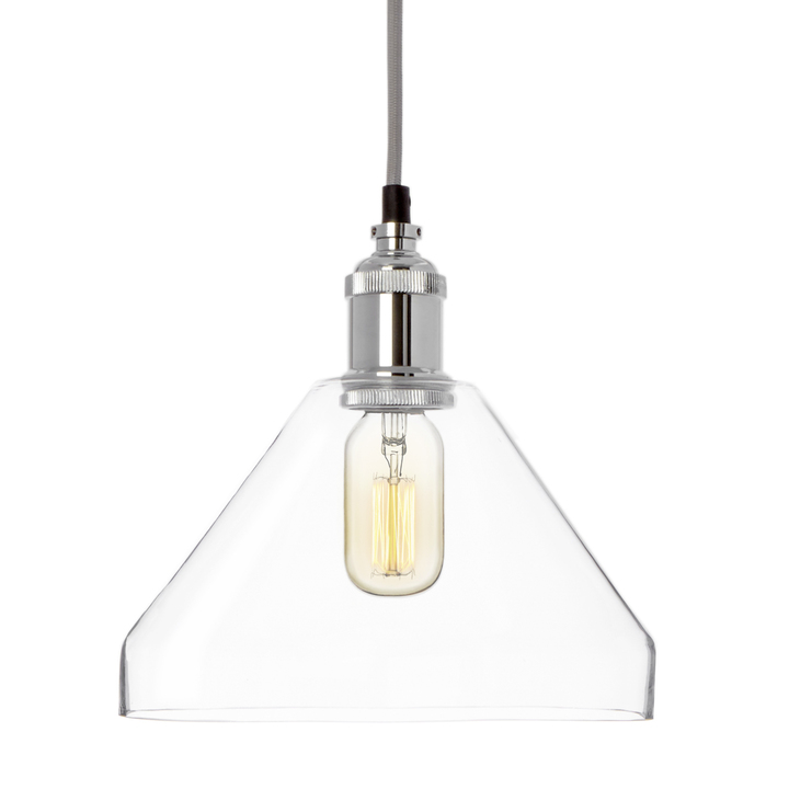 Alton Pendant with Tapered Glass, Chrome