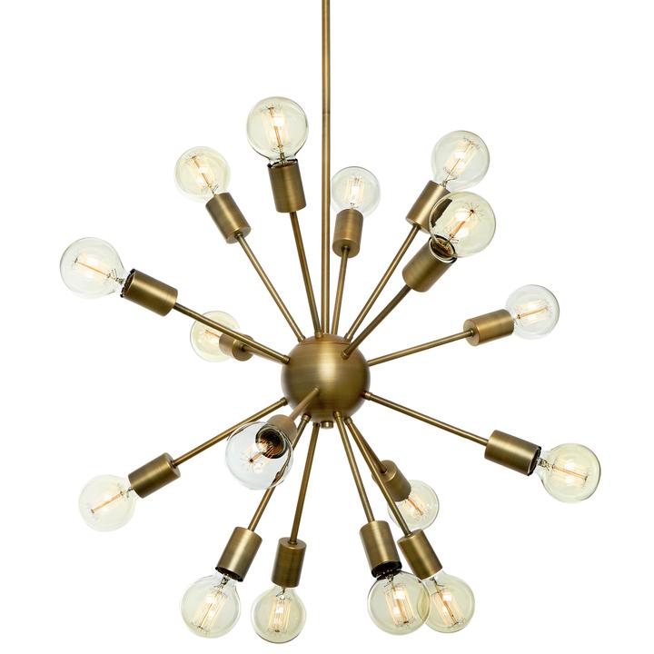 Sputnik 16-Light Chandelier, Aged Brass