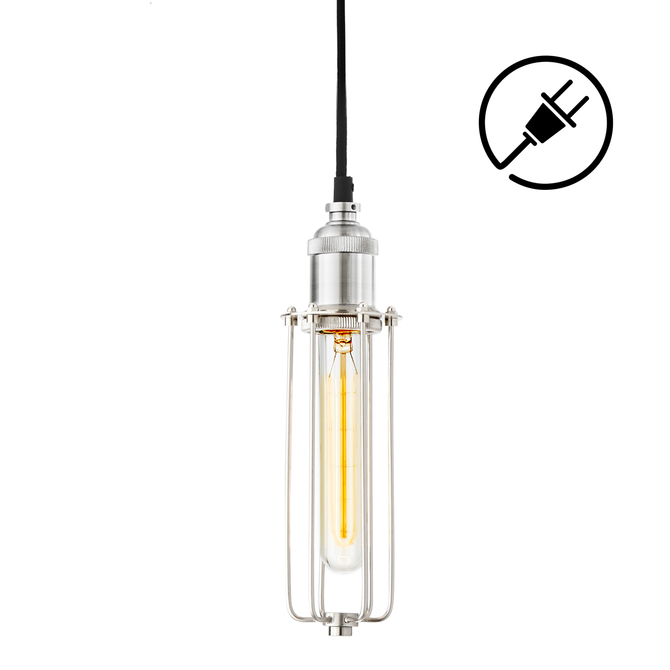 Alton Plug-In Pendant with Slim Cage, Satin Nickel