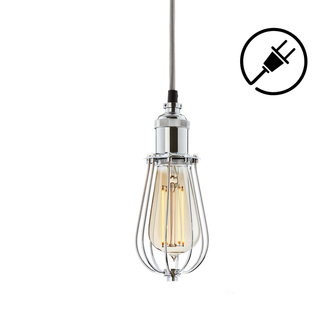 Alton Plug-In Pendant with Raindrop Cage, Chrome