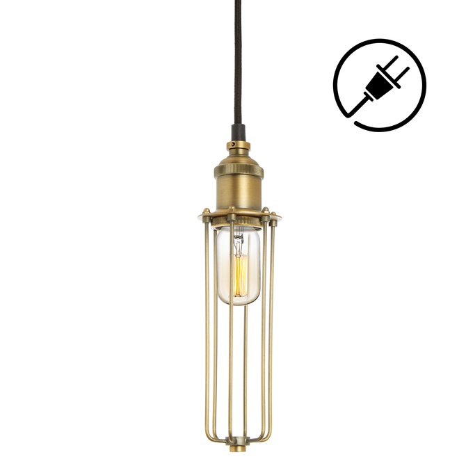 Alton Plug-In Pendant with Slim Cage, Aged Brass