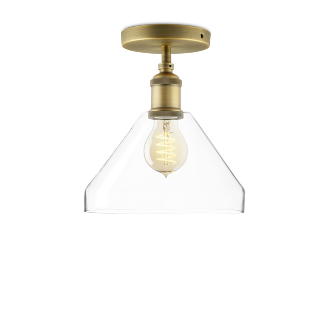 Alton Flush Mount with Tapered Glass, Aged Brass