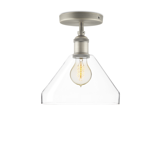 Alton Flush Mount with Tapered Glass, Satin Nickel