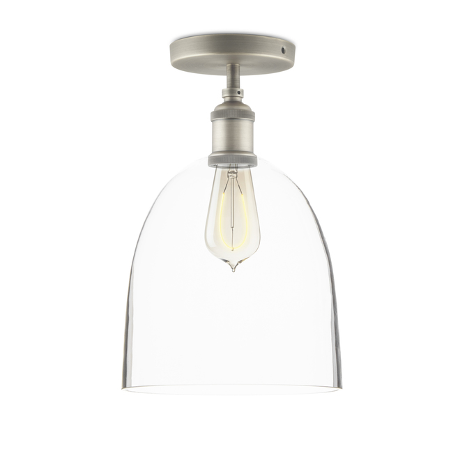 Alton Flush Mount with Chic Dome Glass, Satin Nickel