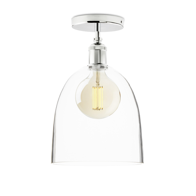 Alton Flush Mount with Chic Dome Glass, Chrome