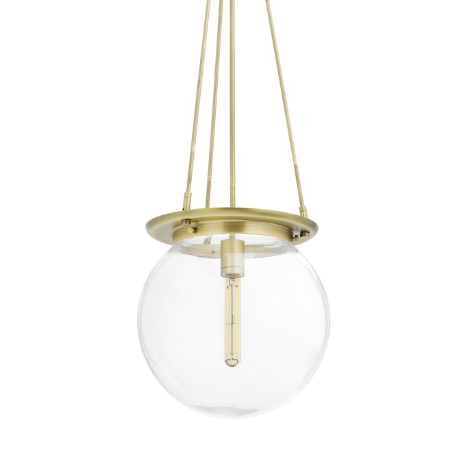 Regent Pendant with Clear Globe, Aged Brass