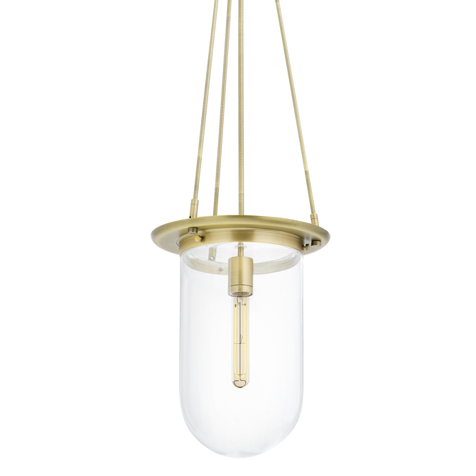 Regent Pendant with Clear Pill Shade, Aged Brass