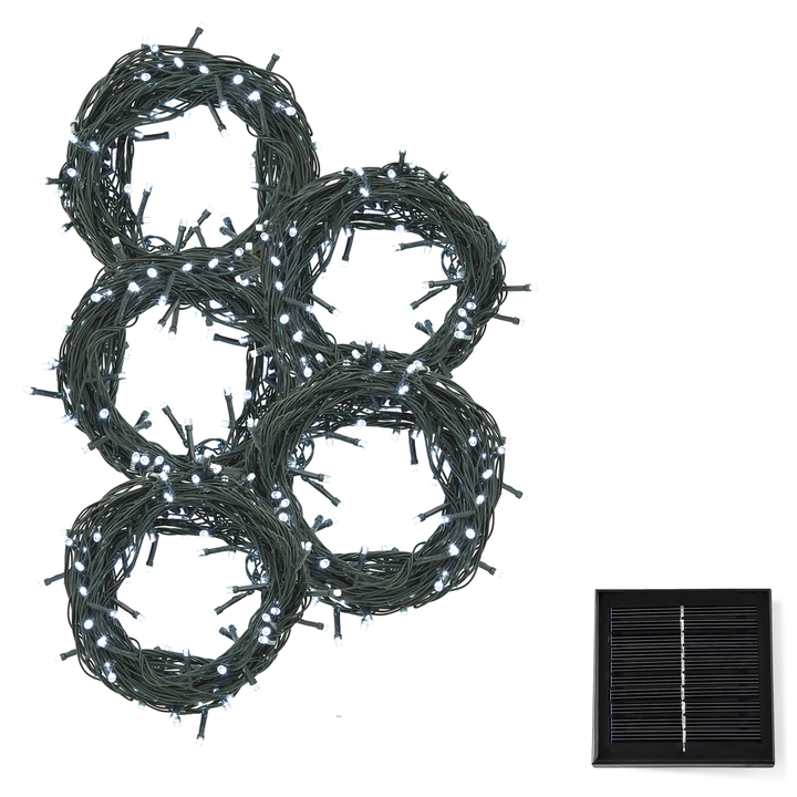 Cool White LED Christmas Lights with Solar Panel, 150 feet