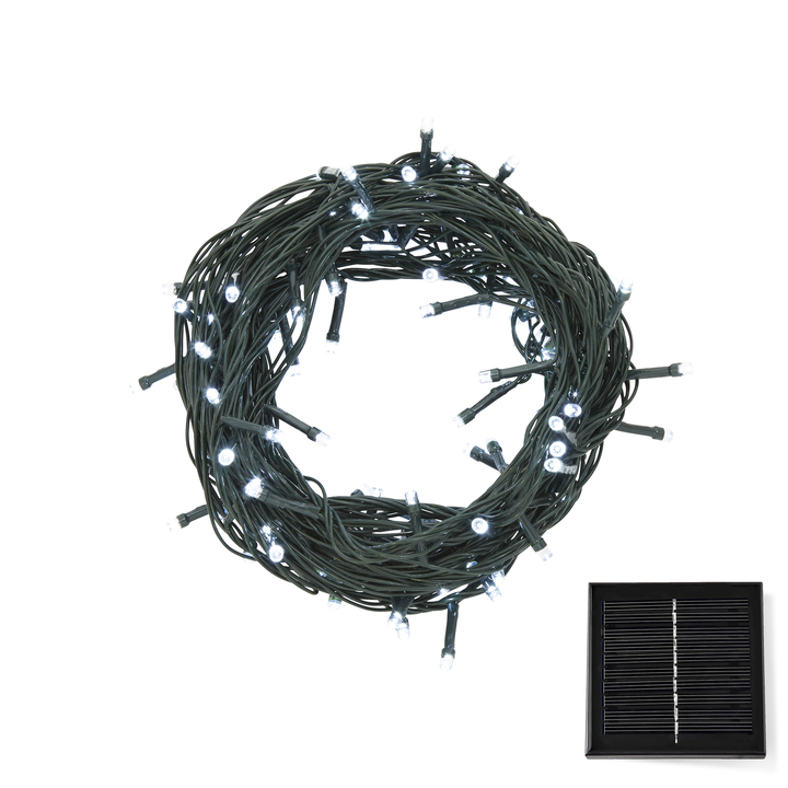 Cool White LED Christmas Lights with Solar Panel, 30 feet