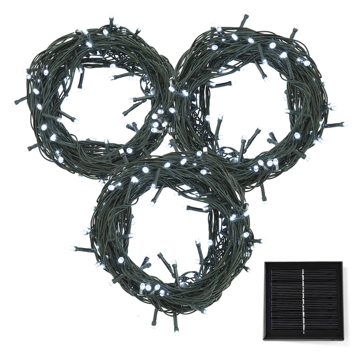 Cool White LED Christmas Lights with Solar Panel, 90 feet