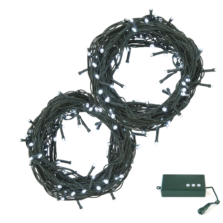 Cool White LED Christmas Lights with D Battery Box, 60 feet