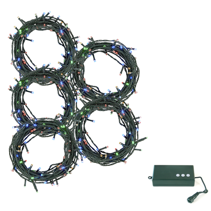 Multicolor LED Christmas Lights with D Battery Box, 150 feet