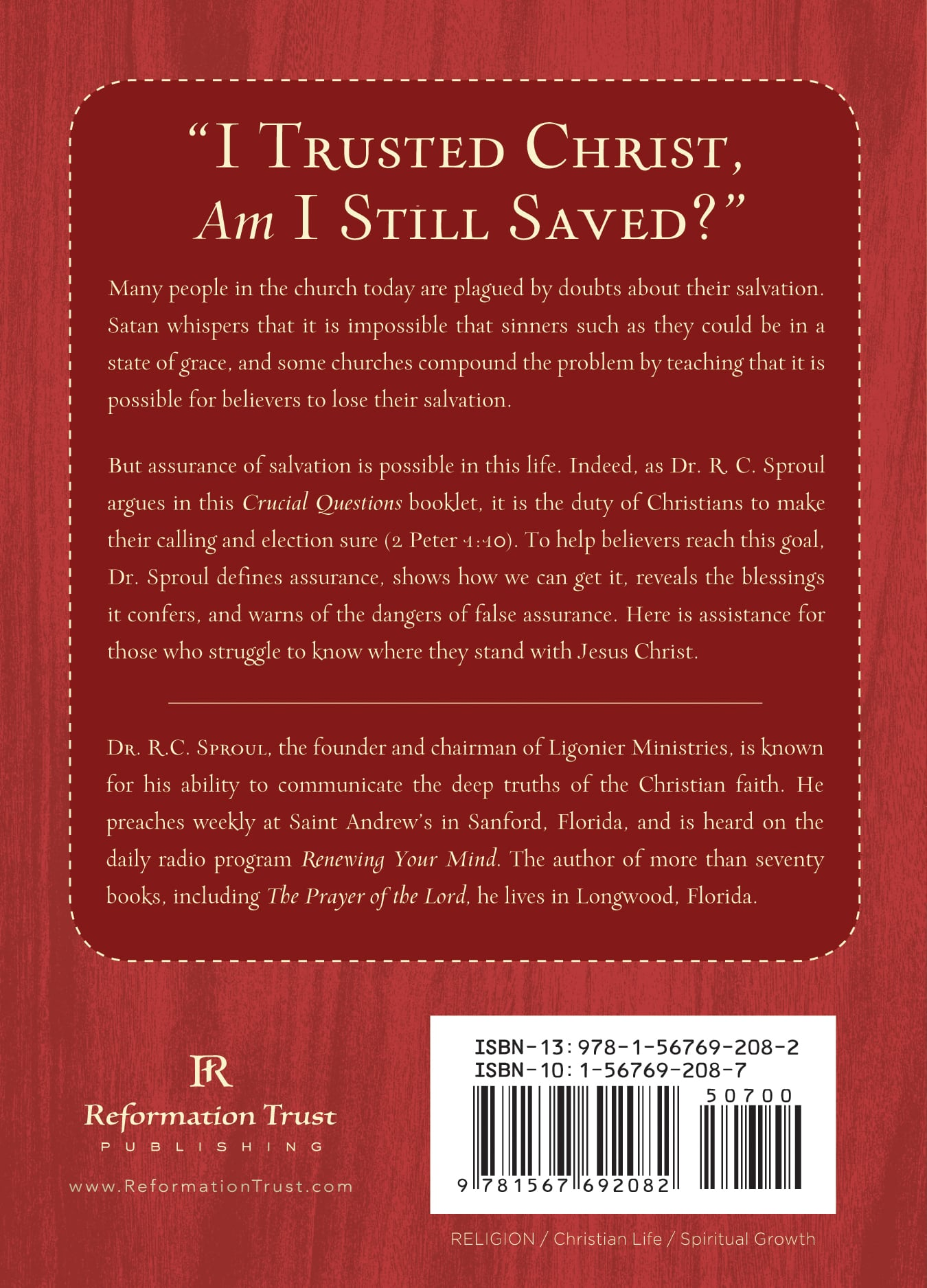 can i be sure i u0026 39 m saved   r c  sproul