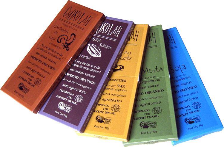 a15757b7a Tabletes de chocolate orgânico da Chokolah nos sabores amargo, ao leite,  castanha de caju