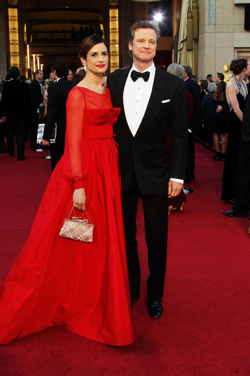 Livia Firth, de Valentino sob encomenda, e Colin Firth, de Tom Ford