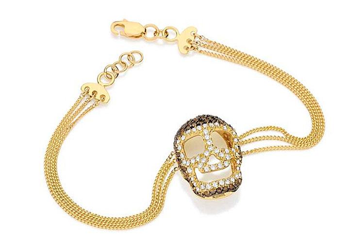Pulseira em ouro amarelo com diamantes brancos e marrons do Emar Batalha por R$ 6.300