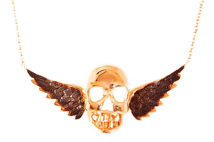 Gargantilha em ouro rosê e ródio negro da Noor por R$ 4.030