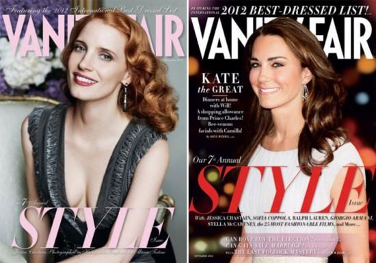 "A ""Vanity Fair"" de setembro tem 2 capas: Jessica Chastain e Kate Middleton"