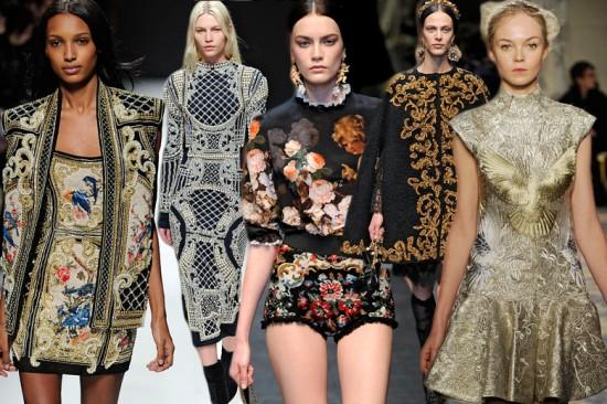 Balmain, Dolce & Gabbana e Marchesa pesaram a mão no barroco, tendência absoluta do inverno lá fora