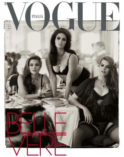 """Tara Lynn já foi capa da """"Vogue"""" Itália - ela é a modelo da esquerda!"""