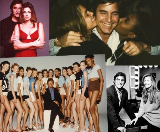 John Casablancas em cliques com Cindy Crawford, Claudia Schiffer e outras de suas descobertas