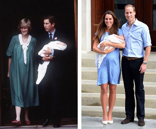 Diana e Charles saindo com William, e a mesma cena, uma geração depois, com manta da mesma empresa britânica