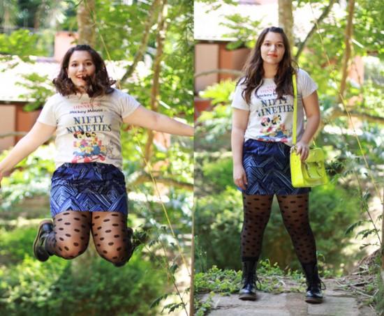 """""""Como eu tenho perna grossa acho meia-calça que afina. Sem dizer que me dá mais conforto do que usar calça jeans"""", conta Crystal Spinelli que montou um look com mix de estampas. Poá na meia, listras assimétricas na saia Gap e estampa da Disney na camiseta da Uniqlo. Os coturnos são da Aliexpress e a bolsa foi comprada em Camden Town"""