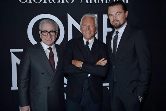 Martin Scorsese e Leonardo DiCaprio posam com Giorgio Armani em NY