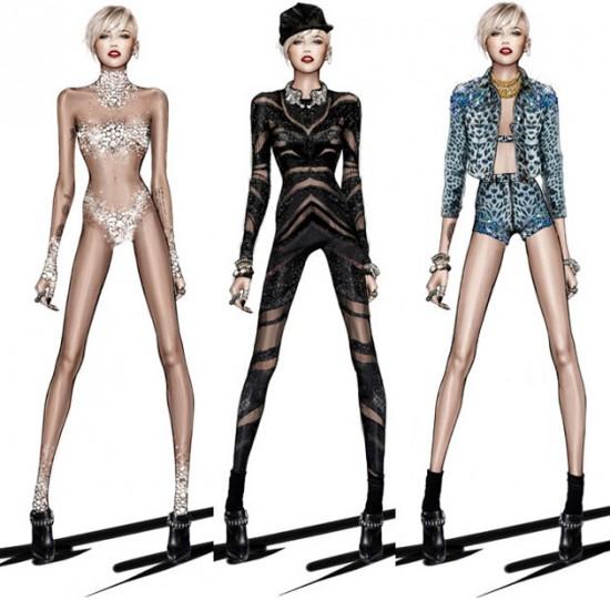 Roberto Cavalli desenhou os looks de Miley Cyrus em sua nova turnê pela América do Norte e Europa, que estreia no dia 14 de fevereiro