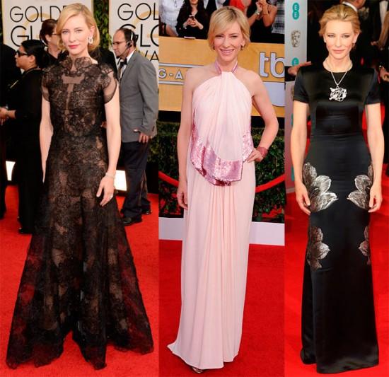 Cate Blanchett usou Armani Privé preto (no Globo de Ouro), Givenchy rosa (no SAG) e Alexander McQueen preto (no BAFTA) - fashionista pero no mucho, mas sempre bela