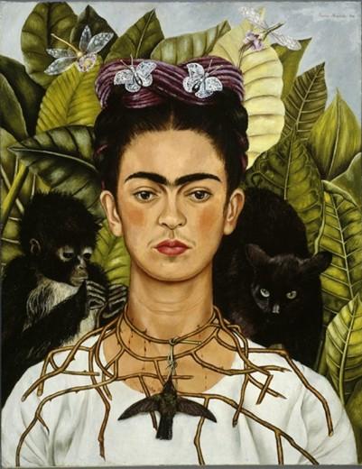 """""""Autorretrato com um colar de espinhos"""", 1940 - essa obra está exposta na exposição italiana"""