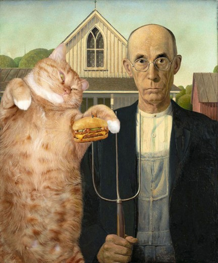 A artista Svetlana Petrova usa seu gato nas obras de seu projeto Fat Cat Art!