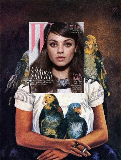 """As capas de revistas viram arte: que tal a Mila Kunis na """"W Magazine"""" com a pintura """"Eu e Meus Papagaios"""" da Frida Kahlo? Clica pra ver mais!"""