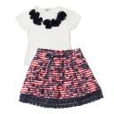 As roupas da Richards Kids são uma graça! Saia estampada de R$ 169 por R$ 89 e blusa de R$ 98 por R$ 59