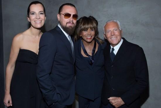 Roberta Armani, Leo DiCaprio, Tina Turner e Giorgio Armani. Turma de peso!