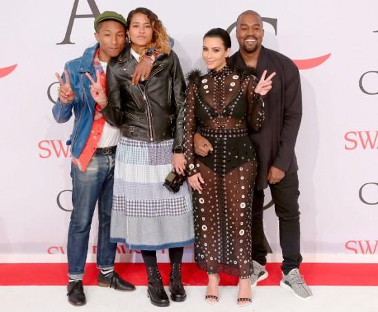 Pharrell Williams, Helen Lasichanh, Kim Kardashian e Kanye West