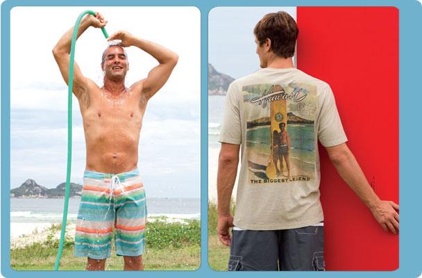 """A Sandpiper fornece, desde os anos 70, 2 peças do uniforme básico dos """"meninos do Rio"""": camisetas e bermudas de surfista"""