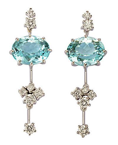 Brincos H.Stern em ouro branco com turmalinas paraíba e diamantes (R$ 136.000)