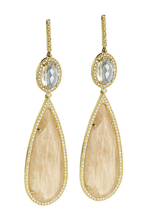 Brincos Vivara em ouro com diamantes, feldspato e acitrinado (R$ 10.590)