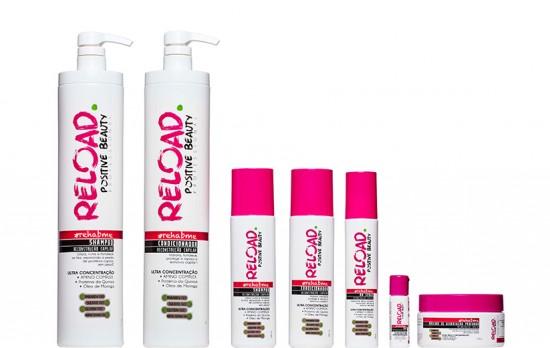 A linha completa da Reload (da esq. pra dir.): xampu (R$ 60); condicionador (R$ 75); BB spray (R$ 85); shot (R$ 30); máscara (R$ 94)