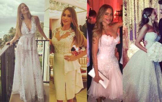 Sofia Vergara usou 4 vestidos em seu casamento  - clica pra ver mais!